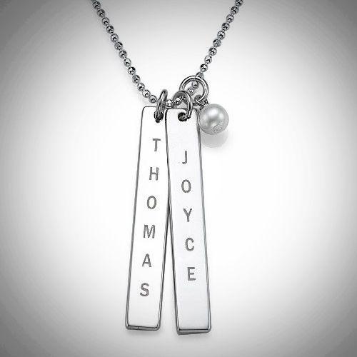 925er Silber Halskette mit zwei gravierten Namensanhaengern