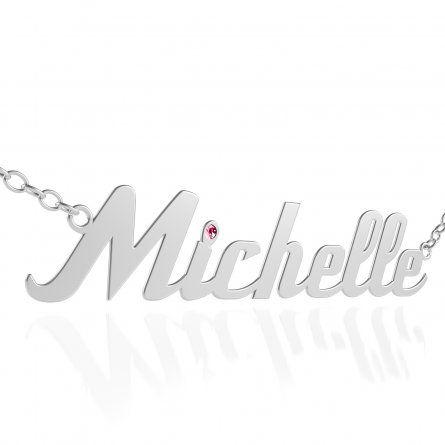 Individuellschmuck - Silberne Namenskette mit pinkem Swarovski Kristall auf dem i Punkt - Onlineshop Schatzinsel Schmuck