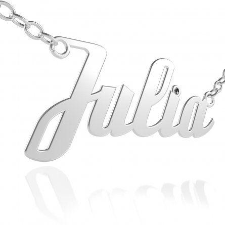 Ketten - Silberne Namenskette mit schwarzem Swarovski Kristall auf dem i Punkt  - Onlineshop Schatzinsel