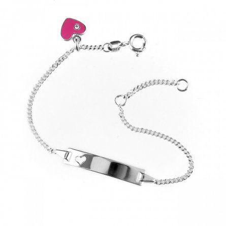 - Baby Armband aus Silber mit pinkem Herzanhänger und Gravur - Onlineshop Schatzinsel Schmuck