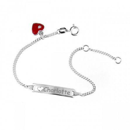 Baby Armband aus Silber mit rotem Herzanhänger und Gravur