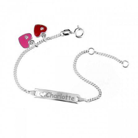 Baby Armband Silber mit rotem und pinkem Herzanhänger und Gravur