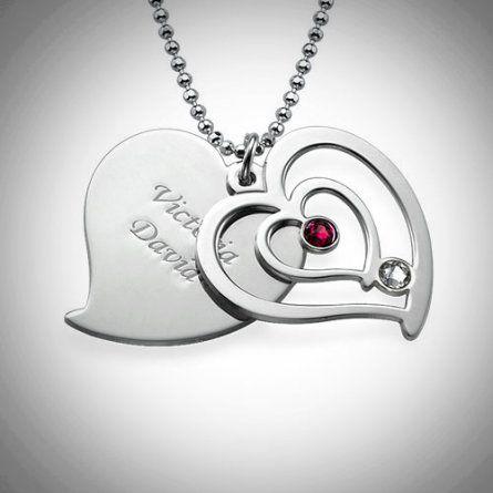 Herzkette fuer Paare mit Geburtsstein und Gravur