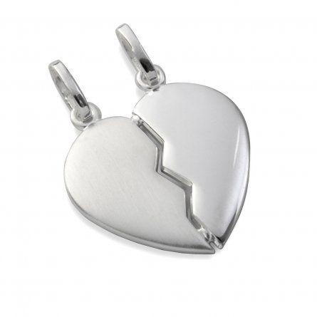 Gebrochenes Herz mit Kette und Gravur aus Silber