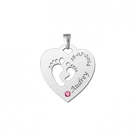 Herzanhaenger aus Silber mit Babyfuesschen, Geburtsstein und Gravur