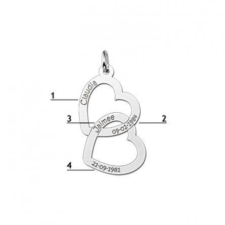 Zwei Herzen Anhaenger in Silber mit Namens und Datum Gravur