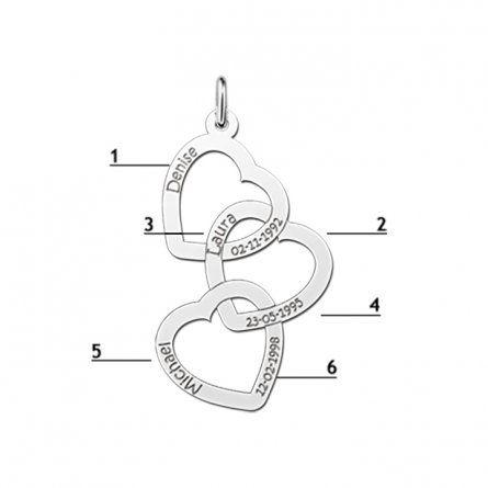 3 Herzen Silberanhänger mit Namen- und Datums-Gravur
