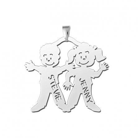 Junge und Mädchen Anhänger aus Silber mit Gravur