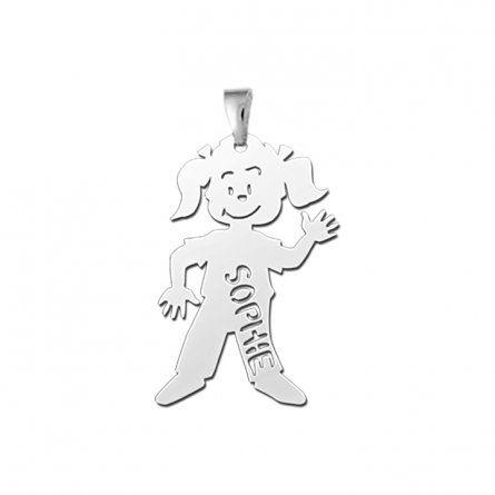 Anhaenger Maedchen in Silber mit Gravur