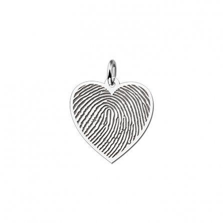 Herzanhaenger mit Fingerabdruck Gravur aus Silber