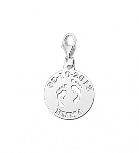 Babyfuesse Charm Anhaenger inklusive Gravur fuer Namen und Datum aus Silber