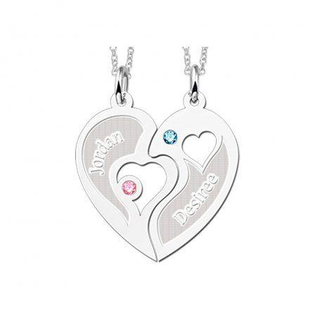 2-teiliger Herzanhänger mit Ketten, Zirkoniasteinen und Gravur
