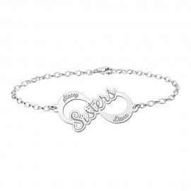 Infinity-Sisters-Armband aus Silber mit 2 Namen als Gravur