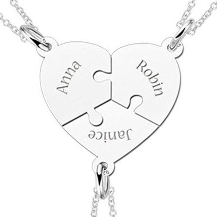 Freundschaftshalskette mit drei Puzzleteilen als Herzform