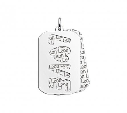 2-teiliger Dogtag Anhänger mit Motiv Love aus Silber mit Namensgravur