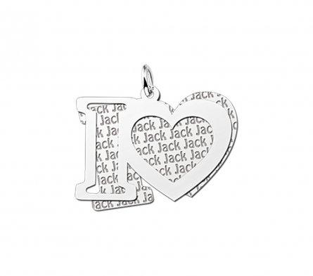 2-teiliger Anh�nger Motiv I Love aus Silber mit Namensgravur