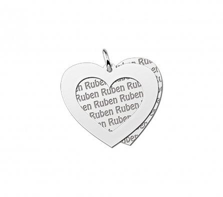 2-teiliger Anhänger Motiv Herz aus Silber mit Namensgravur