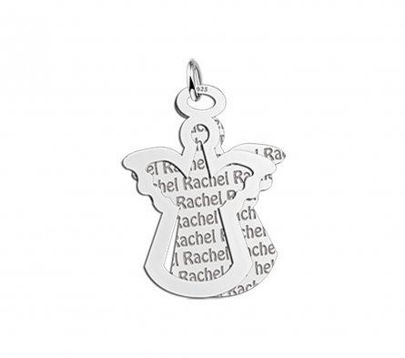 2-teiliger Anhänger Motiv Engel aus Silber mit Namensgravur