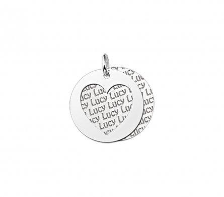 2-teiliger Runder Anhänger Motiv Herz aus Silber mit Namensgravur