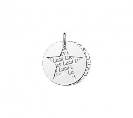 2-teiliger Runder Anhänger Motiv Stern aus Silber mit Namensgravur