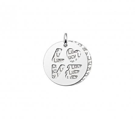 2-teiliger Runder Anhänger Motiv LOVE aus Silber mit Namensgravur