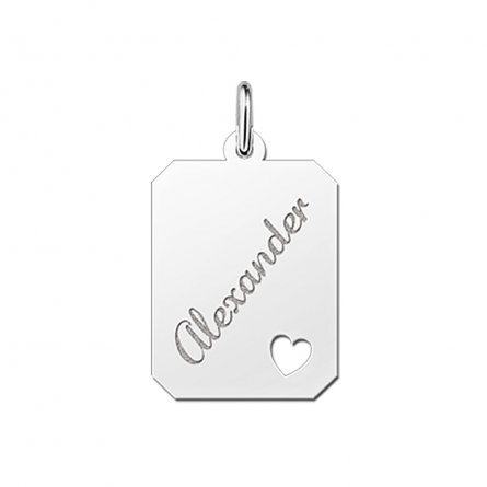 8-eckige Gravurplatte  aus Silber mit Herz und Gravur