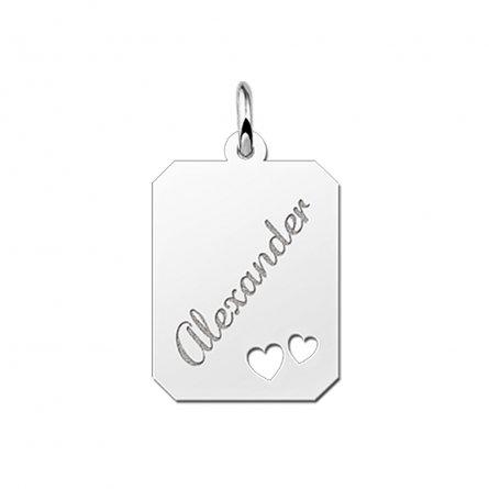 8-eckige Gravurplatte aus Silber mit 2 Herzen und Gravur