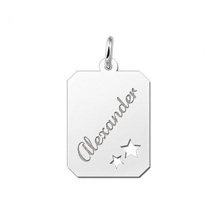 8-eckige Gravurplatte mit 2 ausgestanzten Sternchen aus Silber