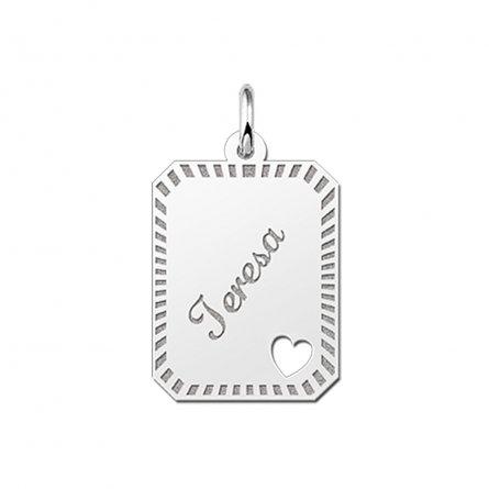 8-eckige Gravurplatte mit 1 ausgestanzten Herzen aus Silber