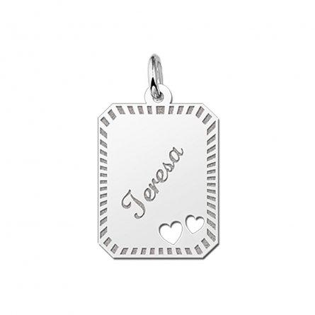 8-eckige Gravurplatte mit 2 ausgestanzten Herzen aus Silber und Rand