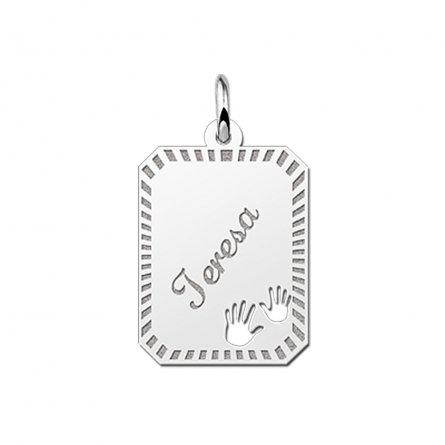 8-eckige Gravurplatte  aus Silber mit 2 Händchen und Rand
