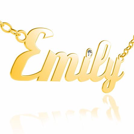 Individuellschmuck - Namenskette in Gold mit echtem Diamant in Brillantschliff - Onlineshop Schatzinsel Schmuck