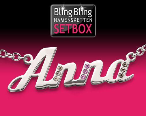 Bling Bling Namensketten Setbox Silber